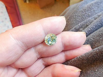 Fiery 4.29 ct White Green Color Round Loose Moissanite VS1 10.62 mm
