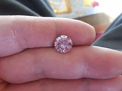 Fiery 2.84 ct Pinkish Purple Color Round Loose Moissanite VVS1 9.60 mm