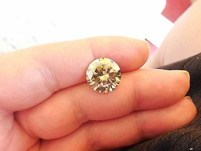Fiery 8.36 ct Yellowish Brown Color Round Loose Moissanite VVS2 13.65 mm