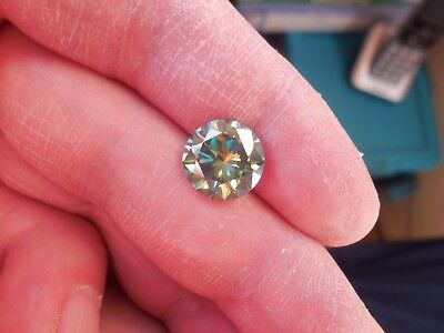 Fiery 4.44 ct Bluish Green Peacock Color Round Loose Moissanite VVS1 10.94 mm