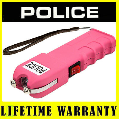Pink Police Stun Gun 928 17 BV Max Voltage Heavy Duty Rechargeable LED Light