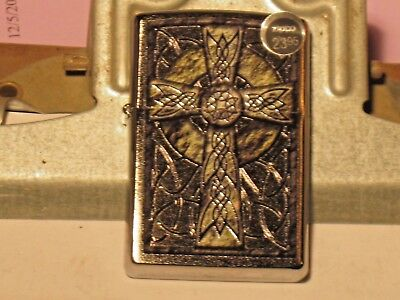 A New ZIPPO USA Windproof LIGHTER 29622 Celtic Cross Design Brushed Chrome Case