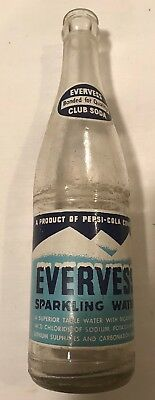 Vintage 12oz Evervess Sparkling Water ACL Soda Bottle By Pepsi Rochelle Illinois