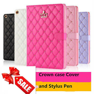 Luxury Crown Biamond Bling Leather Case Cover for iPad 2/3/4 Air2 Pro 9.7 2018