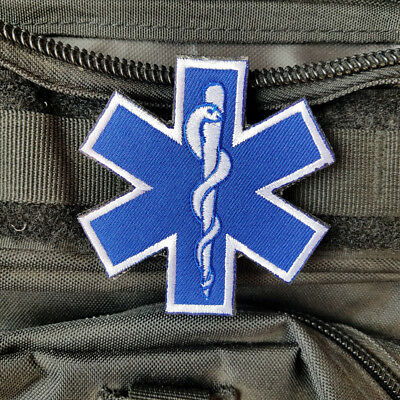 Medic Paramedic Emt Ems Rescue First Responder Hook Patch Blue Embroidered Badge