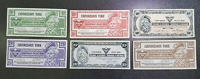 Lot of 6 Collectible Vintage Canadian Tire Money  #20