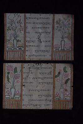 Set Antique Thailand Manuscript Painting from the 19th Century on book  -019