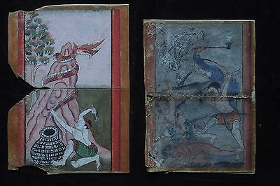Set Antique Thailand Manuscript Painting from the 19th Century on book  -002