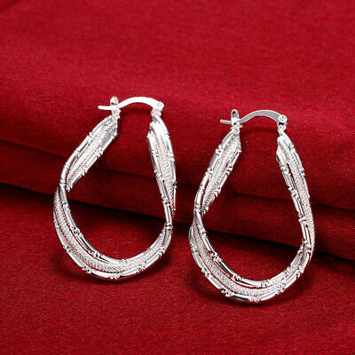 Womens 925 Sterling Silver Elegant Twisted U-Shaped Vogue Hoop Earrings #E190
