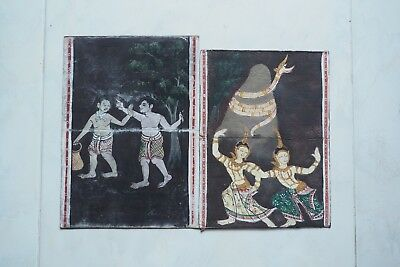 Set Antique Thailand Manuscript Painting from the 19th Century on book  02