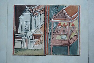 Set Antique Thailand Manuscript Painting from the 19th Century on book  07