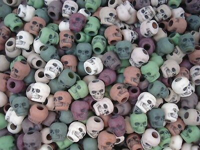 Pony Beads Skulls 50pc Camo Mix 9x6mm Halloween Hair Party Fun Rave FREE POSTAGE