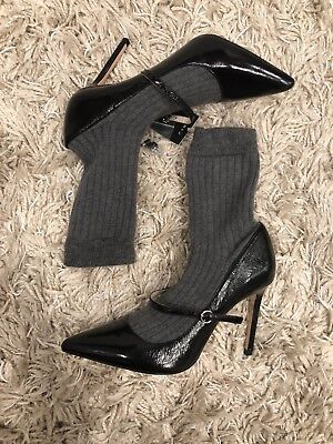 73c50b2f573 ZARA WOMAN SOCK-STYLE High Heel Court Shoes Black gray Size Us 8 Ref ...