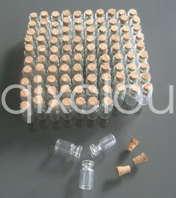 Wholesale Small Clear Cork Vials Glass Bottles Tiny Wishing Bottle 0.5ml 11x18mm