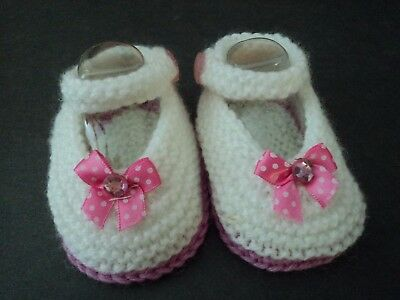 Gorgeous Knitted Preemie Baby Girls/reborn Doll White & Hotpink Mary-Jane Shoes.
