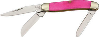 Rough Rider RR840 Folding Knife Tiny Stockman Pink Smooth Bone Handle Folder