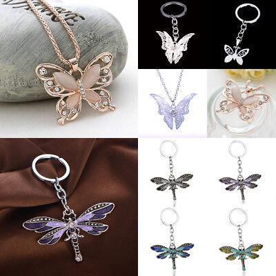 Elegant Crystal Butterfly Dragonfly Pendant Necklace Keyring Keychain Jewerlry
