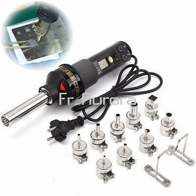 220V 450W LCD Display Electronic Hot Air Heat Gun Soldering Station + 9x Nozzles