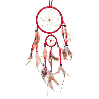 "18"" Traditional Red Dream Catcher with Feathers Wall or Car Hanging Ornament 2 C"