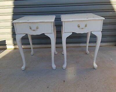 Vintage look Queen Anne  white Bed side Table w/ Drawer