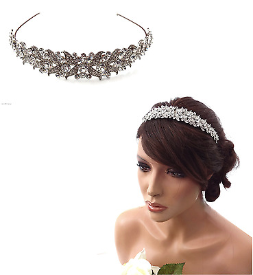 Exquisite Bridal Prom Tiara Victorian Crystal Fascinator Headband Hair Band