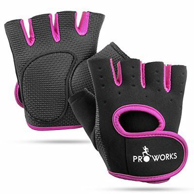 Proworks Womens Padded Grip Fingerless Gym Gloves for Weight Lifting, Cross Tra