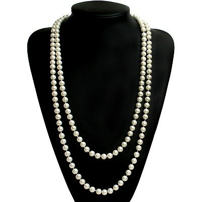 """ART DECO Faux Pearls Flapper Beads Cluster Long Pearl Necklace Great Gatsby 55"""""""