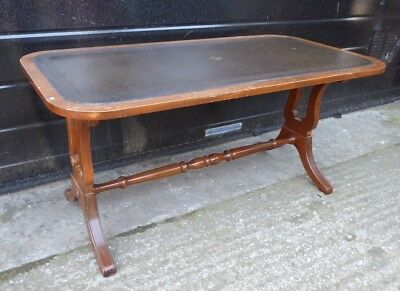 Bevan Funnell Reprodux Leather Top Regency Style Mahogany Coffee Table (a)