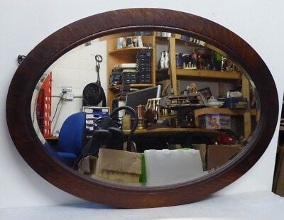Antique Large Solid Oak Oval Bevel Edged Wall Mirror