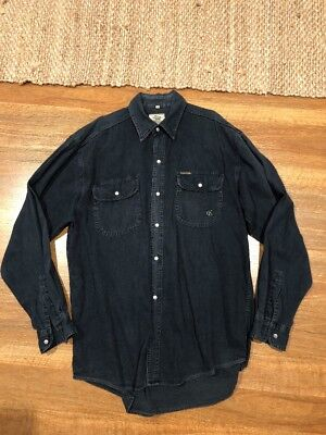 Vintage CALVIN KLEIN 90s Dark Denim Button Up Shirt