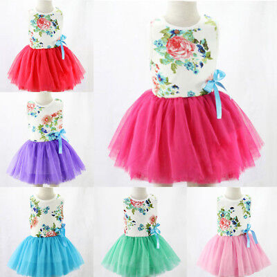 Girls Baby Toddler Kid's Clothes Sleeveless Flower Tutu Dress Party Dresses JN
