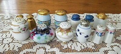 13 Antique Vintage Variety of Porcelain Pottety Hand Painted Salt Shakers