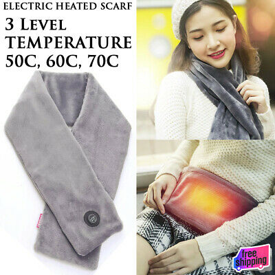 NEW Heated Neck Scarf Electric Heating Winter Scarf Flannel Warmer Unisex Wear