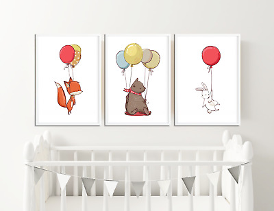 Animal With Balloon Nursery Print / Picture Children's Bedroom, Satin or Giclee