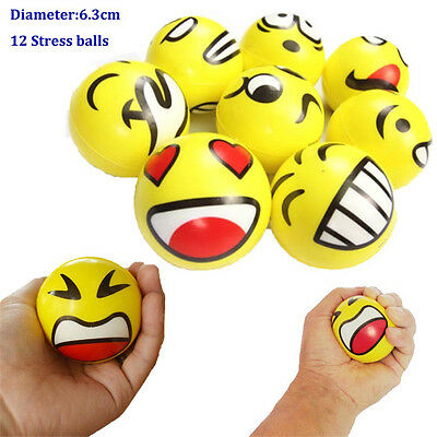12x YELLOW STRESS BALLS Hand Relief Squeeze Toy Reliever Antistress Soft Smiley#
