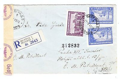 Germany OCCUPATION of Serbia REGISTERED CENSORED COVER WWII 1943