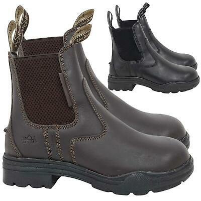 Adults Hard Rock Horse Riding Leather Steel Toe Short Working Yard Jodphur Boots