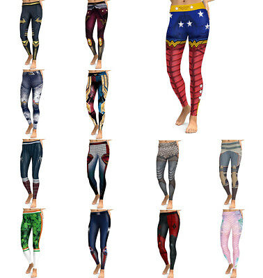 6b5416172b184 Women's Print Pants Trousers YOGA Gym Sports Leggings Running Fitness Super  Hero