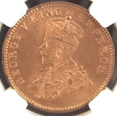 1912(C) India 1/4 Anna Ngc Ms64 Red Brown