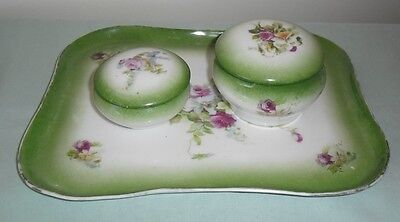 ANTIQUE LA SEYNIE LIMOGES PP FRANCE :  VANITY TRAY AND TRINKET BOXES c1903-1917