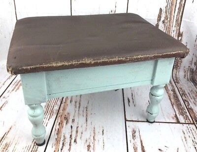 Vtg Foot Stool Ottoman Childs Photo Prop Leather Wood Blue Storage Farm House