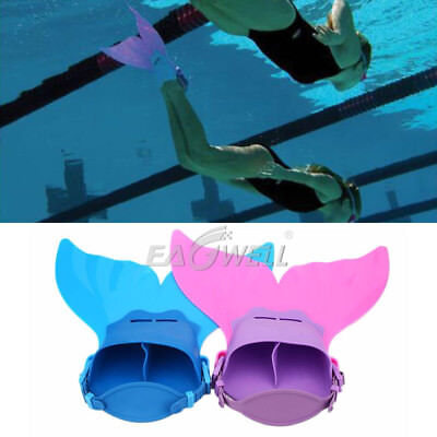 US Kids Girls Fin Mermaid Tail Monofin Swimmable Tail Swimming Flippers Toy Gift
