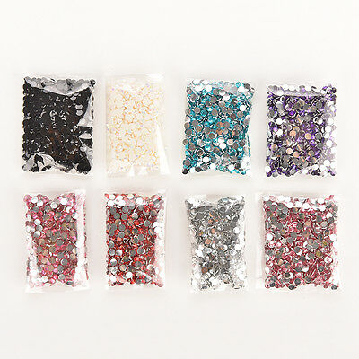 1000Pcs 4mm Nail Art Facets Rhinestone Flatback Crystal AB Round Beads EB