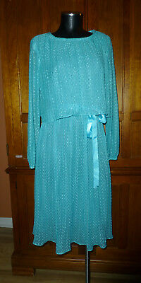 VTG 70s Turquoise Sheer Micro Pleat Draped Hippie Boho Cocktail Secretary DRESS
