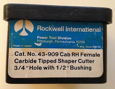 "Rockwell #43-909 Cab Carbide Tipped Shaper Cutter 3/4 "" hole 1/2"" Bushing"