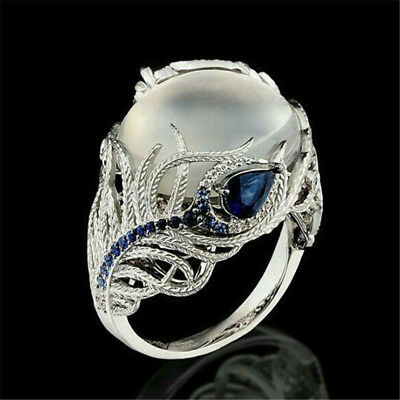 Prom Feather 925 Silver Woman Jewelry Huge Moonstone Wedding Bridal Ring Sz6-10