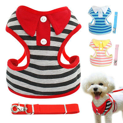 Mesh Padded Small Medium Dog Harness & Leash Pet Puppy Cat Vest Adjustable S-L