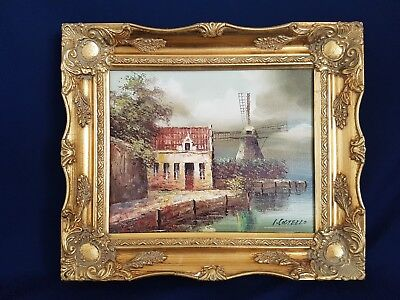 Vintage Original landscape Framed Oil Painting By I. Costello Windmill & Cottage