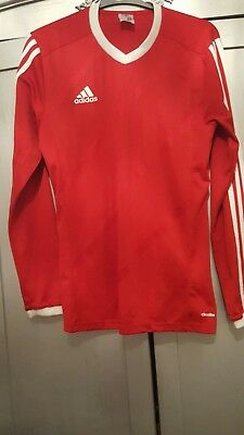 adidas RED LONG SLEEVED T-SHIRT RED/WHITE SIZE UK SMALL