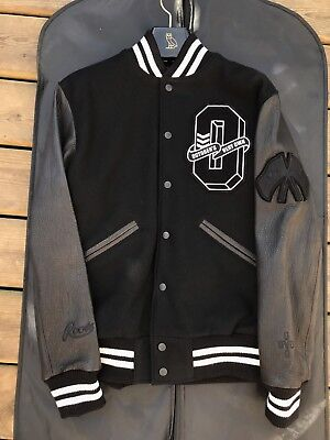 size small drake ovo x roots fall 2017 black white leather varsity